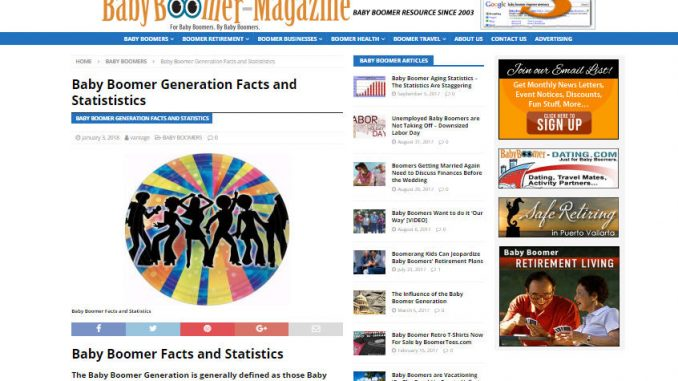 Baby Boomer Magazine Website Article Page